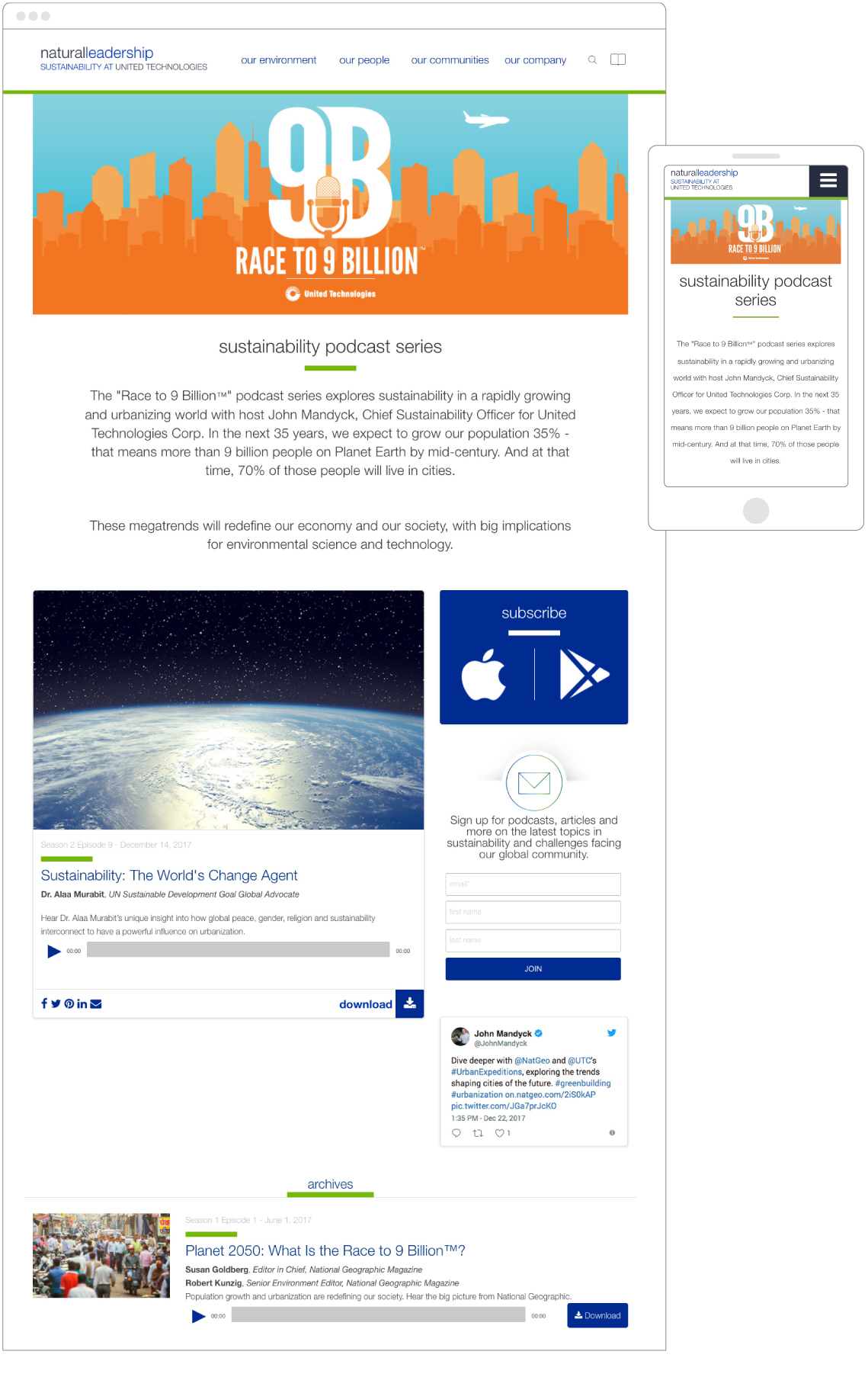 United Technologies Corporation – Race to 9 Billion Podcast - Landing Page